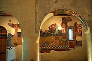 Twelfth century restored Romanesque Frescoes in the church of Saint Joan of Boi, Val de Boi, Alta Ribagorca, Pyranese, Spain. A UNESCO World Heritage Site .<br /> <br /> Visit our SPAIN HISTORIC PLACES PHOTO COLLECTIONS for more photos to download or buy as wall art prints https://funkystock.photoshelter.com/gallery-collection/Pictures-Images-of-Spain-Spanish-Historical-Archaeology-Sites-Museum-Antiquities/C0000EUVhLC3Nbgw <br /> .<br /> Visit our MEDIEVAL PHOTO COLLECTIONS for more   photos  to download or buy as prints https://funkystock.photoshelter.com/gallery-collection/Medieval-Middle-Ages-Historic-Places-Arcaeological-Sites-Pictures-Images-of/C0000B5ZA54_WD0s