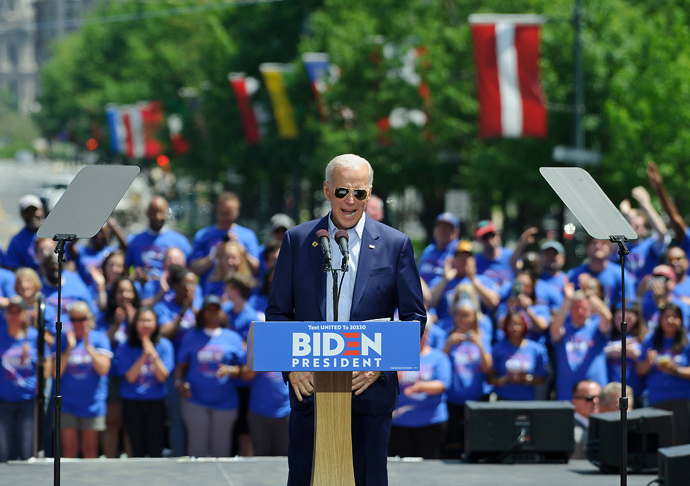 Former vice-president Joe Biden formally launches his 2020 presidential campaign during a rally May 18, 2019, at Eakins Oval in Philadelphia, Pennsylvania. (Photo by Matt Smith)