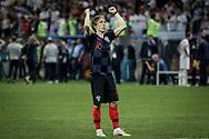 Luka Modric of Croatia celebrates after winning the 2018 FIFA World Cup Russia, semi-final football match between Croatia and England on July 11, 2018 at Luzhniki Stadium in Moscow, Russia - Photo Thiago Bernardes / FramePhoto / ProSportsImages / DPPI