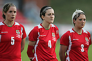 2011 FIFA Women's World Cup Qualifying match, Wales v Czech Republic at Stebonheath Park, Llanelli on Wed 23rd September 2009. pic by Andrew Orchard..Emma Jones (5), Nicola Cousins (4) and Lauren Townsend (3)