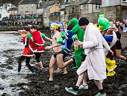 First run in. The Stoats Loony Dook at South Queensferry, the annual new year dip in the freezing River Forth in the shadow of the world-famous Forth Bridges.