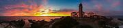 Wide angle panorama of Beavertail lighthouse