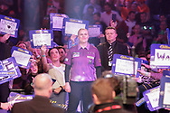 Anastasia Dobromyslova about to do the walk-on in her first ever leg in the PDC World Championships, during the World Championship Darts 2018 at Alexandra Palace, London, United Kingdom on 17 December 2018.