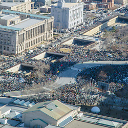 Aerial view of fans gathered at Logan Circle and Art Museum, 676 and Benjamin Franklin Parkway at the start of Philadelphia Eagles Super Bowl Victory Parade  on February 8, 2018
