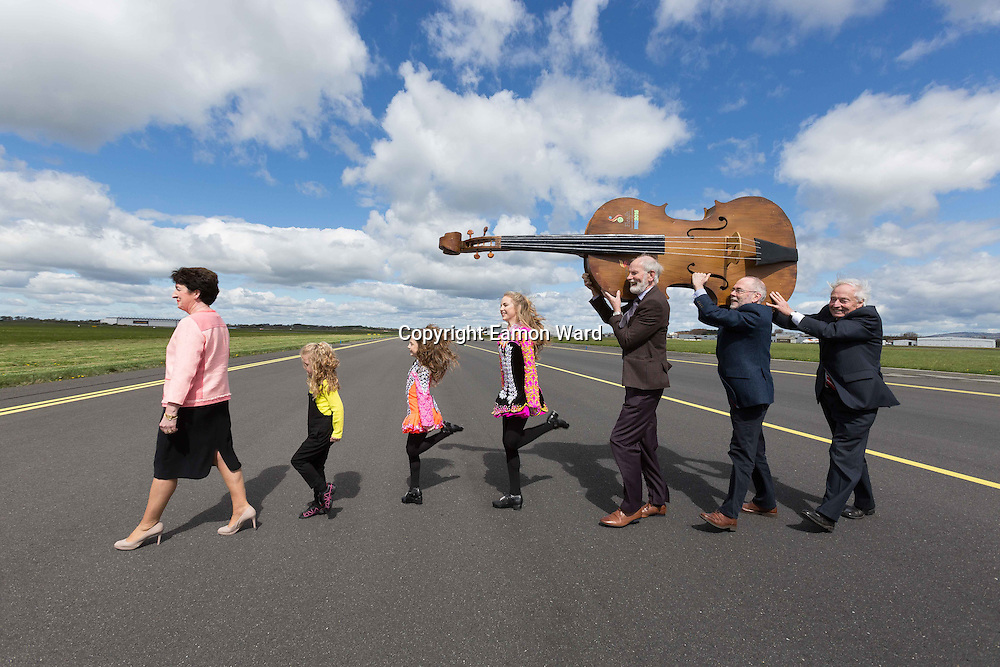 **NO REPRO FEE** 26042016 Fleadh Cheoil na hÉireann Inis 2016 lifts off as Shannon Airport comes on board as main sponsor. At the announcement were Rose Hynes, Chair Shannon Group, Dancers Emilie, Zoe and Aimee Keane, Frank Whelan,Vice Chairman Fleadh Executive Committee, Mícheál Ó Riabhaigh, Chairman Fleadh Cheoil Executive Committee and Pádraig O Dufaigh, National Treasure Comhaltas Ceoltóiri Éireann.Photograph by Eamon Ward (Further information available from Eugene Hogan 0872497290 eugene.hogan@bridgepr.ie)