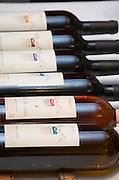 The range of wines. Domaine Plan de l'Om in St Jean de la Blaquieres Terrasses de Larzac. Languedoc. France. Europe. Bottle.
