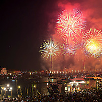 VENICE, ITALY - JULY 20:  A general view on the St Mark's basin with the Redentore fireworks display on July 20, 2013 in Venice, Italy. Redentore is one of the most loved celebrations by Venetians which is in remembrance for the end of the 1577 plague. Highlights of the celebration include the pontoon bridge extending across the Giudecca Canal, gatherings on boats in the St Mark's basin and a spectacular fireworks display.  (Photo by Marco Secchi/Getty Images)