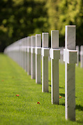 Row of white crosses at World War One cemetery, Romagne-sous-Montfaucon, France