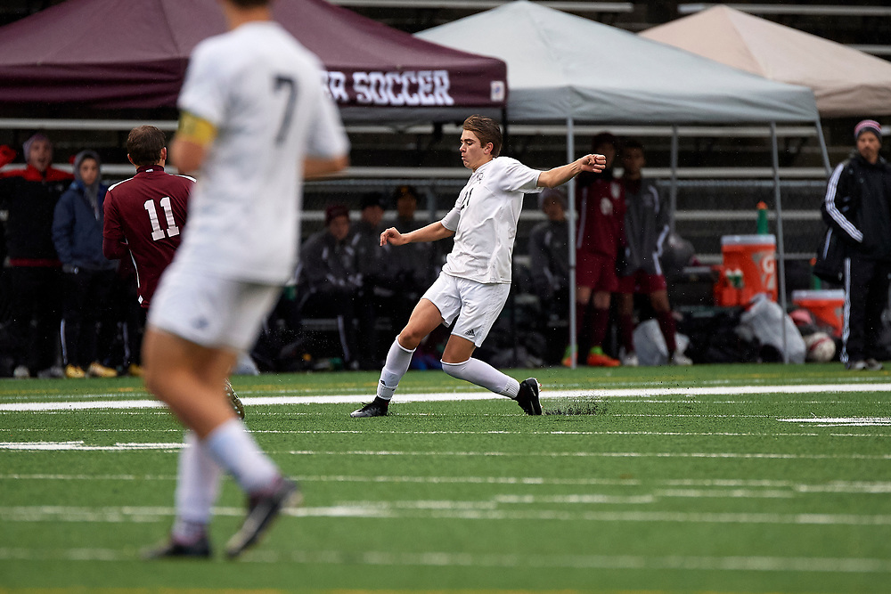 SEWICKLEY, PA - OCTOBER 28:  During the semi-final match of the Western Pennsylvania Interscholastic Athletic League Class 2-A Boys Soccer Championships between Quaker Valley and Beaver High School at Moe Rubenstein Stadium on October 28, 2017 in Ambridge, PA.  The Quakers went on to win 3-1. (Photo by Shelley Lipton)
