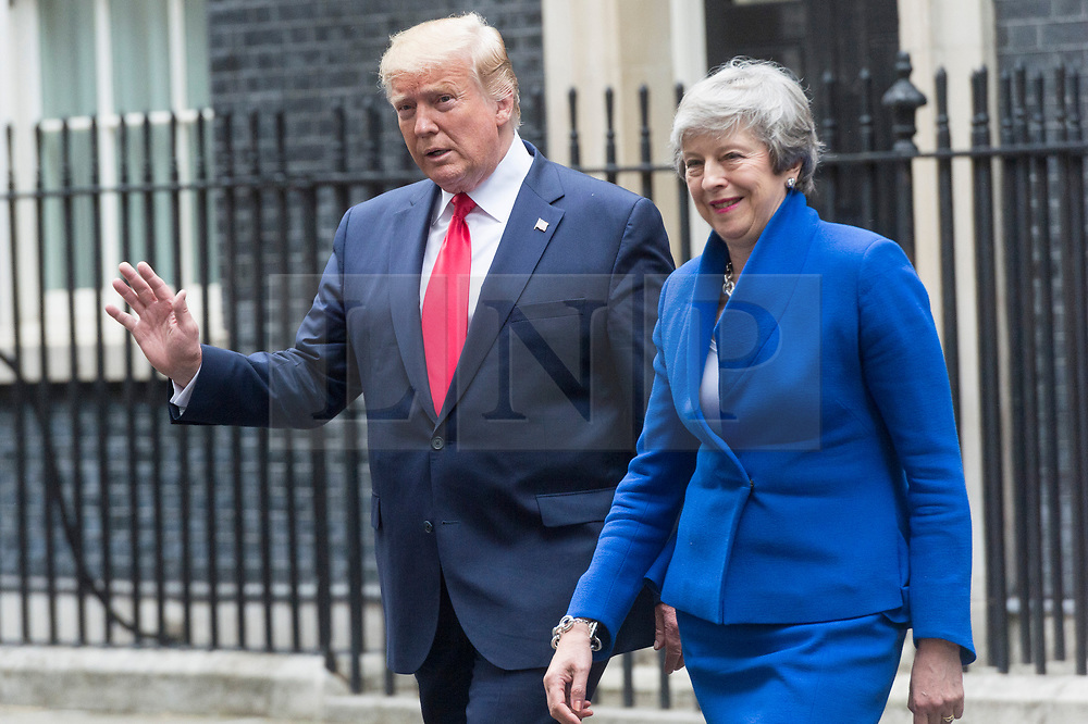 © Licensed to London News Pictures. 04/06/2019. London, UK.  US President Donald Trump and British Prime Minister Theresa May  leave No.10 Downing St after a visit. Photo credit: Ray Tang/LNP