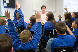 Class or secondary school pupils raising their hands in a lesson,