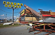 A Waffel hHuse in Callaway , Florida, badly damaged by Hurricane Michael.