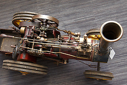 © Licensed to London News Pictures.  03/03/2012. OXFORD, UK. A finely detailed 1:6 scale working model of a Burrell Steam Traction Engine forms part of a classic car auction sale being held at Bonhams Oxford today. The car is estimated to sell for £15,000-20,000. Photo credit :  Cliff Hide/LNP