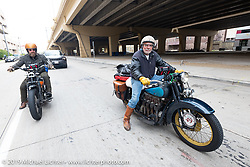 Jeff Durrant (L) and Frank Westfall arrive in Milwaukee on the Cross Country Chase motorcycle endurance run from Sault Sainte Marie, MI to Key West, FL (for vintage bikes from 1930-1948). Stage 2 from Ludington, MI to Milwaukee, WI, USA. Saturday, September 7, 2019. Photography ©2019 Michael Lichter.