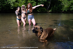 Mongo the dog with April Denizen (dk hair), Katerina Rickman (blonde) and Kelly Flemming (red hair) having fun in the creek during the Tennessee Motorcycles and Music Revival at Loretta Lynn's Ranch. Hurricane Mills, TN, USA. Saturday, May 22, 2021. Photography ©2021 Michael Lichter.