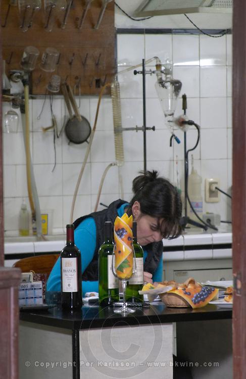The winery laboratory with a lab technician doing analysis Bodega Plaza Vidiella Winery, Las Brujas, Canelones, Uruguay, South America
