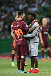 September 27, 2017 - Lisbon, Portugal - A fan of Barcelona's Argentine forward Lionel Messi enters the field to hug him during the UEFA Champions League football match Sporting vs Barcelona at the Alvalade stadium in Lisbon, Portugal on September 27, 2017. Photo: Pedro Fiuza  (Credit Image: © Pedro Fiuza/NurPhoto via ZUMA Press)