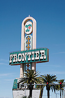 Neon sign on the Strip in Las Vegas Nevada for the Frontier casino and hotel