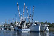 Shrimp Boats<br /> Near St Simon's Island, Barrier Islands, Georgia<br /> USA