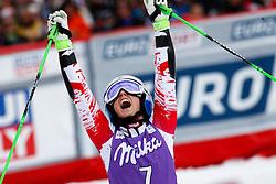 22.03.2015, Roc de Fer, Meribel, FRA, FIS Weltcup Ski Alpin, Meribel, Finale, Riesenslalom, Damen, im Bild Eva-Maria Brem (AUT, 2. Platz) // second placed Eva-Maria Brem of Austria reacts after her 2nd run for the lady's Giant Slalom of the FIS Ski Alpine World Cup finals at the Roc de Fer in Meribel, France on 2015/03/22. EXPA Pictures © 2015, PhotoCredit: EXPA/ Erich Spiess