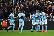 Manchester City celebrate the first goal of the match by Leroy Sane (19) during the Premier League match between West Ham United and Manchester City at the London Stadium, London, England on 29 April 2018. Picture by Toyin Oshodi.