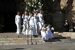 Bridesmaids and flower girls leave York Minster after the wedding of Ellie Goulding and Caspar Jopling.