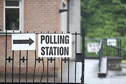 A polling station at St Nicolas Parish Hall, Belfast, waits for voters as polling gets underway in the 2017 General Election.