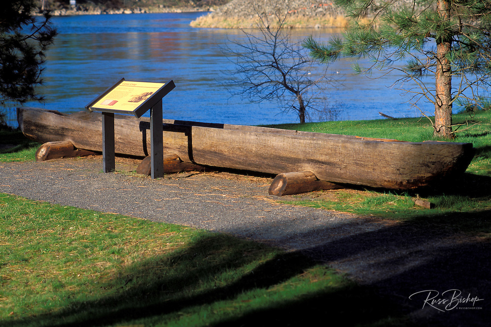 Dugout canoe and interpretive sign along the Clearwater River at the Canoe Camp where Lewis and Clark stayed on September 26, 1805, Nez Perce National Historic Park, Idaho
