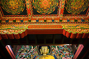 Buddha statue inside Tengboche Monastery, Khumbu (Everest) region, Sagarmatha National Park, Himalaya Mountains, Nepal.