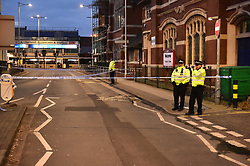 © Licensed to London News Pictures. 07/03/2020.  London UK: Police and forensic officers launch a murder investigation after a male in his twenties was stabbed in Ilford high road at around 5.00 am this morning. He was rushed to hospital by paramedics but was pronounced dead at 11.41 am   , Photo credit: Steve Poston/LNP