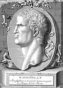 Marcus Vipsanius Agrippa (63-12 BC) Roman statesman and naval and military commander. Friend, son-in-law, and deputy of Emperor Augustus.  The  warship in the background refers to his naval victories at Mylae and Naulochus (36 BC) and against Antony at Actium (31 BC). Copperplate engraving.