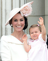 The Duchess of Cambridge and Princess Charlotte attend The Trooping The Colour at Buckingham Palace, London, UK, on the 11th June 2016.<br /> <br /> Picture by James Whatling