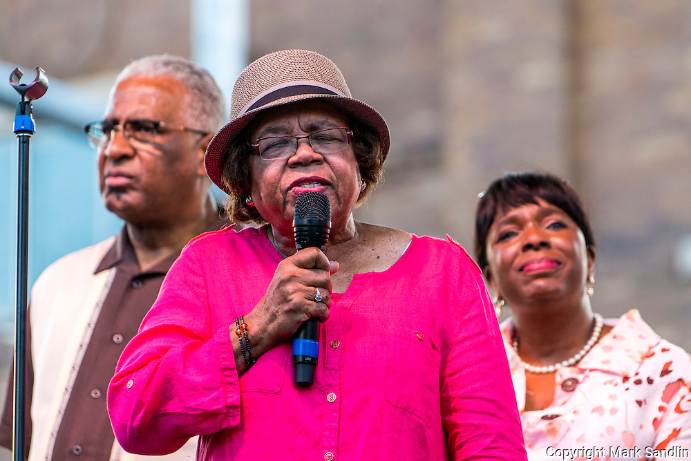 Civil Rights icon Odessa Woolfolk speaking to the March for Birmingham participants