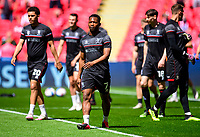 Lincoln City's Tayo Edun during the pre-match warm-up<br /> <br /> Photographer Andrew Vaughan/CameraSport<br /> <br /> The EFL Sky Bet League One Play-Off Final - Blackpool v Lincoln City - Sunday 30th May 2021 - Wembley Stadium - London<br /> <br /> World Copyright © 2021 CameraSport. All rights reserved. 43 Linden Ave. Countesthorpe. Leicester. England. LE8 5PG - Tel: +44 (0) 116 277 4147 - admin@camerasport.com - www.camerasport.com