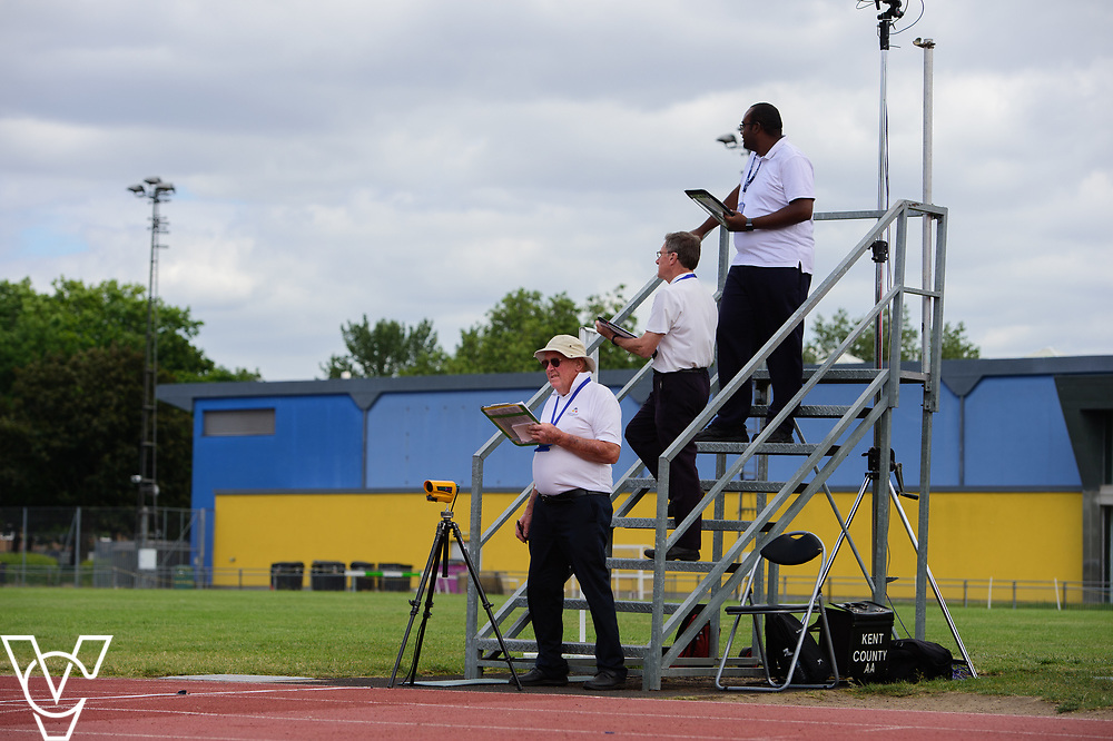 Event: 60 meters<br /> Competitors, from left: <br /> <br /> Metro Blind Sport's 42nd Athletics Open, held at Mile End Stadium, Tower Hamlets, London.<br /> <br /> Picture: Chris Vaughan Photography for Metro Blind Sports<br /> Date: June 16, 2018