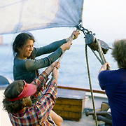 The Sloop Clearwater is a replica of a commercial fishing vessel common to the Hudson River in the mid 19th century. Launched in 1969 by Pete Seeger, a bunch of folk singers, history buffs, and environmental activists, it sails the Hudson to promote clean water and environmental stewardship.