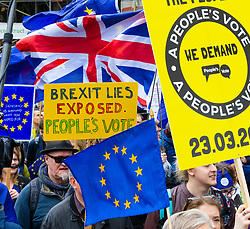 Tens of thousands of people from across the UK march along Piccadilly from Park Lane to Parliament demanding a People's Vote on the EU withdrawal agreement before the UK leaves the EU. London, March 23 2019