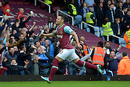 Mauro Zarate of West Ham United celebrates after he scores his teams 1st goal. Barclays Premier League, West Ham Utd v Chelsea at The Boleyn Ground, Upton Park in London on Saturday 24th October 2015.<br /> pic by John Patrick Fletcher, Andrew Orchard sports photography.