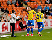Football - 2021 / 2022 EFL Carabao Cup - Round Two - Blackpool vs. Sunderland -Bloomfield Road - Tuesday 24th August 2021<br /> <br /> Sunderland head coach Lee Johnson gives instructions to Aiden O'Brien and Alex Pritchard, at Bloomfield Road.<br /> <br /> COLORSPORT/Alan Martin