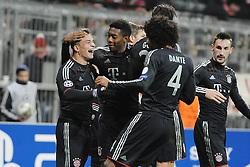 Freude bei Xherdan SHAQIRI (FC Bayern Muenchen) nach seinem 3:0, David ALABA (FC Bayern Muenchen) und DANTE (FC Bayern Muenchen) gratulieren...Bayern Muenchen vs. BATE Borisov, Champions League, Vorrunde, Spieltag 6, 05.12.2012..Nutzungshinweis: EIBNER-PRESSEFOTO Tel: 0172 837 4655............