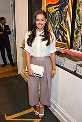 Georgia May Foote at a private view of work by Bradley Theodore entitled 'The Second Coming' at the Maddox Gallery, 9 Maddox Street, London England. 19 April 2017.