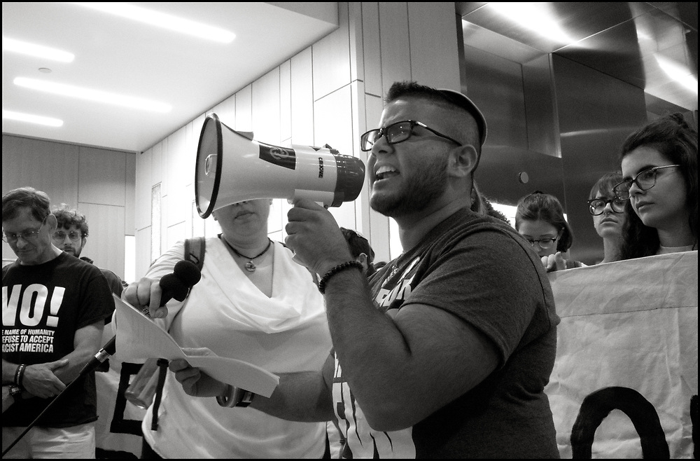 On September 6, 2019, hundreds of protesters organized by the Jewish group Never Again Action marched on Amazon's headquarters outside of Boston. 12 activists who refused to leave the building were arrested.<br /> <br /> The marchers walked from the New England Holocaust Memorial in Boston to Amazon's building in Cambridge.  At the Amazon building, group leaders held signs and shared information about Amazon's corporate ties to Immigration and Customs Enforcement.