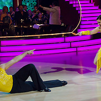 Tibor Cseh-Szakal and Monika Erdelyi perform during the Hungarian version of Dancing With the Stars called Saturday Night Fever (Szombat esti laz).