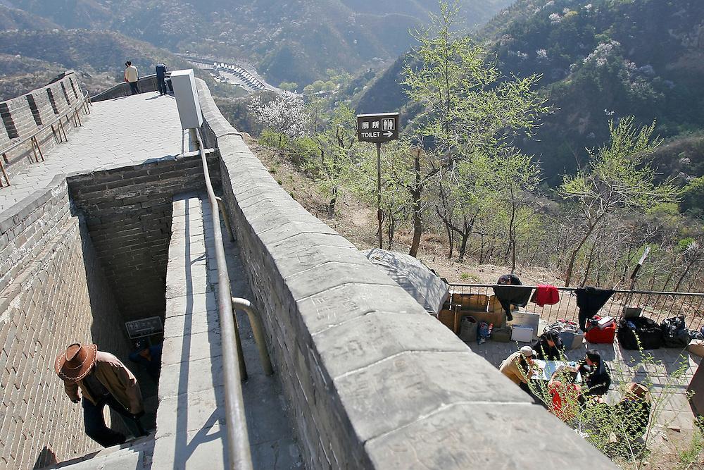 Vendors set up along the edges of The Great Wall at Badaling in China.