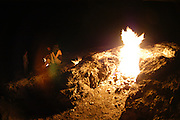 Turkey, Antalya Province, Olympos National Park the Eternal Fire of the Chimera at night
