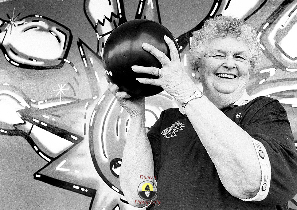 Bernice Daggett, of Monroe, won a month-long ladies tournament at Monroe's Nortel Lanes with a string of strikes in the last three days of play. Photo by Roger S. Duncan.