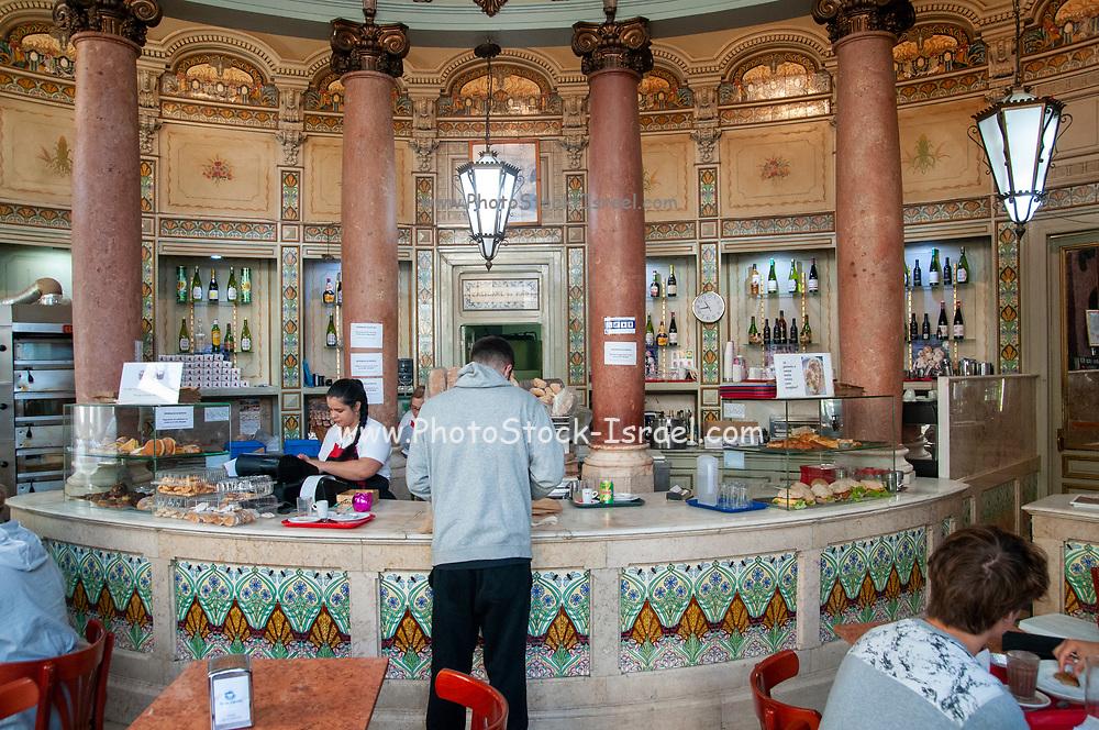 Interior of a traditional Portuguese bakery, Pastelaria Padaria Sao Roque, Bairro Alto, Lisbon, Portugal