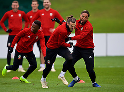 CARDIFF, WALES - Monday, November 19, 2018: Wales' Rabbi Matondo, Gareth Bale and captain Ashley Williams during a training session at the Vale Resort ahead of the International Friendly match between Albania and Wales. (Pic by David Rawcliffe/Propaganda)