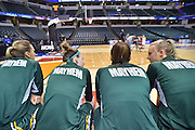 April 4, 2016; Indianapolis, Ind.; Hannah Wanders, Jessica Madison, Jenna Buchanan and Alysha Devine chat on the bench before the NCAA Division II Women's Basketball National Championship game at Bankers Life Fieldhouse between UAA and Lubbock Christian.