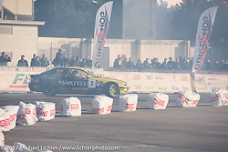 Drifting cars racing in the outdoor areas of Motor Bike Expo. Verona, Italy. Saturday January 21, 2017. Photography ©2017 Michael Lichter.